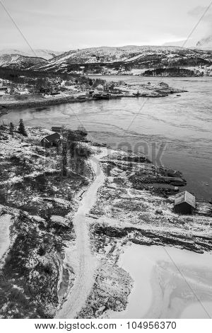 Black and white view of the landscape with whirlpools of the maelstrom of Saltstraumen near Bodo, Nordland Norway