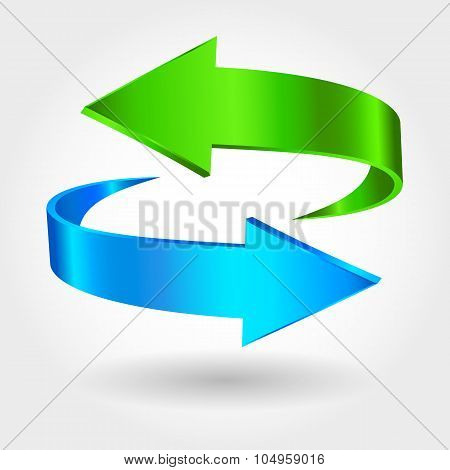 Arrows Sign. Blue Green Color