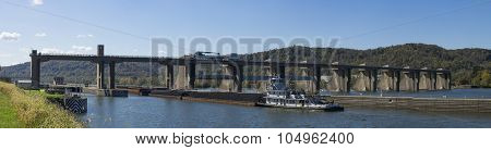 Coal Barge entering Pike Island Lock and Dam on the Ohio River.