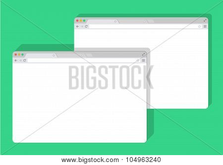 2 web simple set of Browser window white, green background, flat