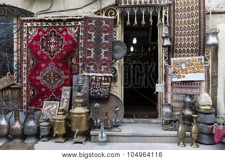Icheri Sheher (Old Town) of Baku Azerbaijan. Typical tourist shop with souvenirs and antiques. poster