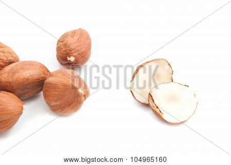 Delicious Hazelnuts On White