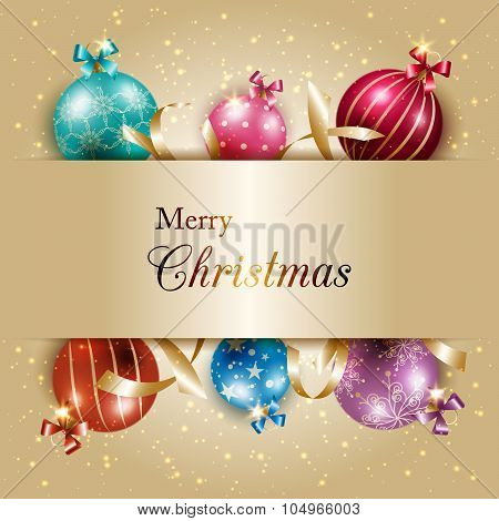 Sparkling Colorful Christmas Ball On Gold Color Background