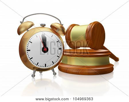 A 3D illustration of a antique style copper alarm clock placed in front of a wooden judge mallet or gavel and block. poster