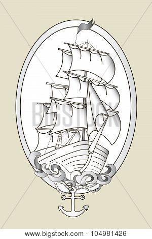 Tattoo ship black and white stencil vector