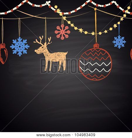 Colored chalk drawn horizontal seamless pattern with snowflakes, Christmas balls, garland, reindeer.