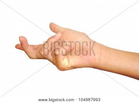 Woman hand beckoning or calling on white isolated background