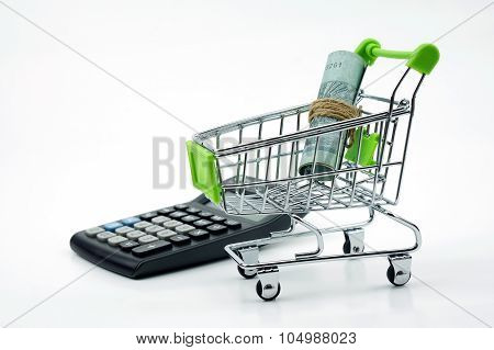 Coin In The Shopping Cart With Calculator