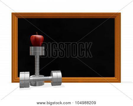 Black Board Dumbbells And Apple