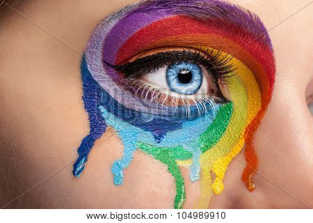 Flowing Colors On An Eye In Fashion Stage Make Up