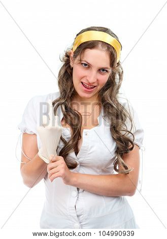 Seductive nurse shows middle finger isolated on white poster