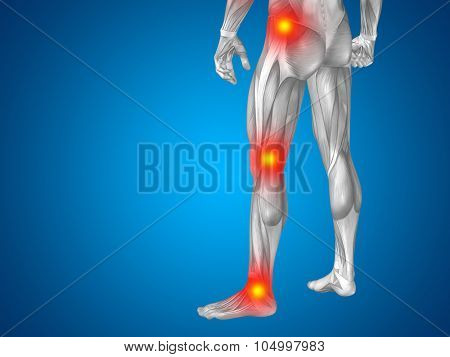 Conceptual 3D human man anatomy lower body or health design, joint or articular pain, ache or injury on blue background poster