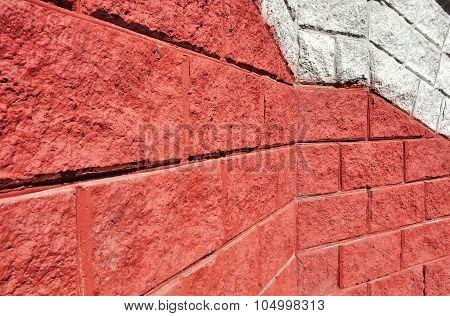 Red Cinderblock Wall