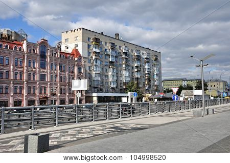 Residential Buildings In Ukraine Near River Port In Kiev. Podol District.