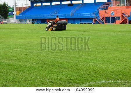 Mowing Grass In A Football Stadium