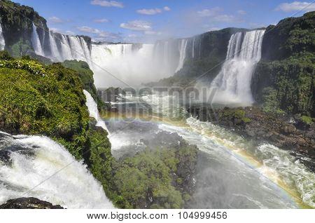 Devil's Throat With Rainbow At Iguazu Falls,  Brazil