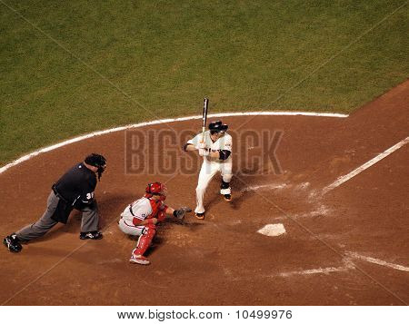 Freddy Sanchez Lifts Foot Into The Air In Batters Box Waiting For Pitch