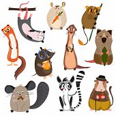 Vector set of small mammals in cartoon style.Opossum groundhoghamster lemurmolegopher chinchilla ferret and other. Bright children cartoon collection. - stock vector poster
