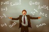Teen boy genius scientist rastavit hand in hand formula physics science studio background experiencing problems retro poster