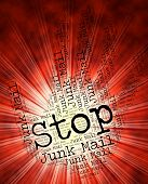 Stop Junk Mail Indicating Warning Sign And Danger poster
