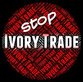 Stop Ivory Trade Representing Elephant Tusk And Commerce poster
