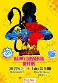 illustration of Lord Rama killing Ravana in Happy Dussehra sale promotion poster poster