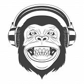 Monochrome Monkey with headphones isolated on white background. Vector EPS8 illustration. poster