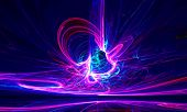 Mysterious alien form ultraviolet magnetic fields in the dark night sky. Fractal art graphics. poster