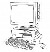 old computer desktop cute line art illustration poster