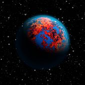 Abstract future planet Earth with blue atmosphere and burning red continents poster