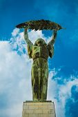 Liberty Statue (Freedom Statue) at the Citadel on Gellert hill in Budapest, Hungary poster
