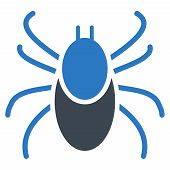 Mite vector icon. Style is bicolor flat symbol, smooth blue colors, rounded angles, white background. poster