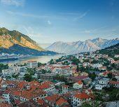 Panoramic top view of Kotor bay (Boka Kotorska) and Kotor city Montenegro Balkans poster