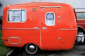 bright orange restored antique mini travel camper poster