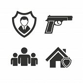 Security agency icons. Home shield protection symbols. Gun weapon sign. Group of people or Share. Flat icons on white. Vector poster