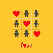 Man Woman icon Tic tac toe game. Three red heart sign Love Yellow background Flat design Vector illustration poster