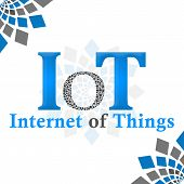 IoT -  internet of things text over abstract background. poster