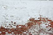 Old Vinyage Red Brick Wall With Sprinkled White Plaster Texture Background poster