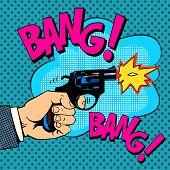 The gunshots gangster murder pop art retro style. Detective movie shootout poster