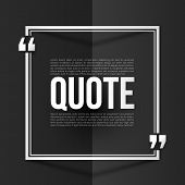 White vector quote frame with placeholder text at black folded paper background poster