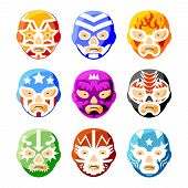 Lucha libre, luchador mexican wrestling masks color vector icons set. Character face person, sport costume symbol illustration poster