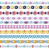 Colorful gemstones seamless horizontal borders set. Ethnic indian style design. Chain bracelet necklace jewelry. poster