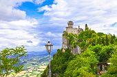 San Marino - view with Rocca della Guaita poster