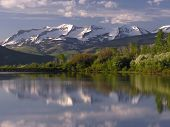 beckwith mountains near paonia, colorado reflecting in williams lake poster