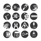 set of 16 automation and robotics icons on white background poster