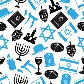 judaism religion symbols vector set of icons seamless pattern eps10 poster