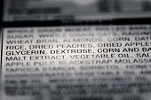 Shallow depth of Field image of Nutrition Facts Dextrose Ingredient Information we can find on a grocery Store Product. poster