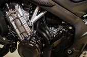 technology big bike motor , closeup motor, poster