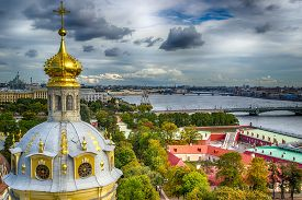 Dome  Peter And Paul Cathedral Top View  St.-petersburg Russia