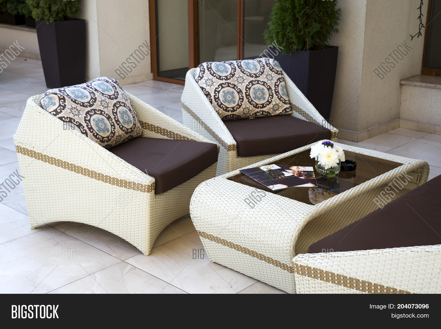 Empty Cafe With Rattan Wicker Armchairs And Table On Summer Garden Terrace  Outdoor, Free Space